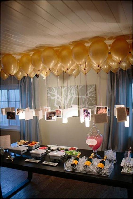 decoracion con globos para bodas de oro