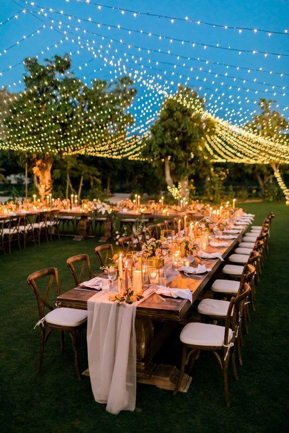 decoracion con luces para bodas de oro