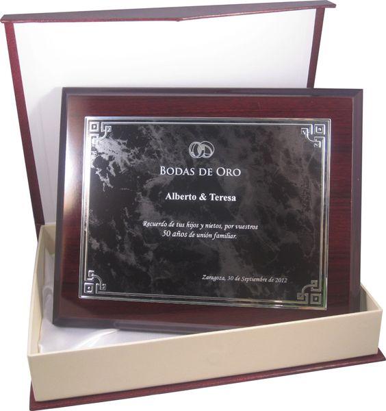 placa conmemorativa para boda de oro