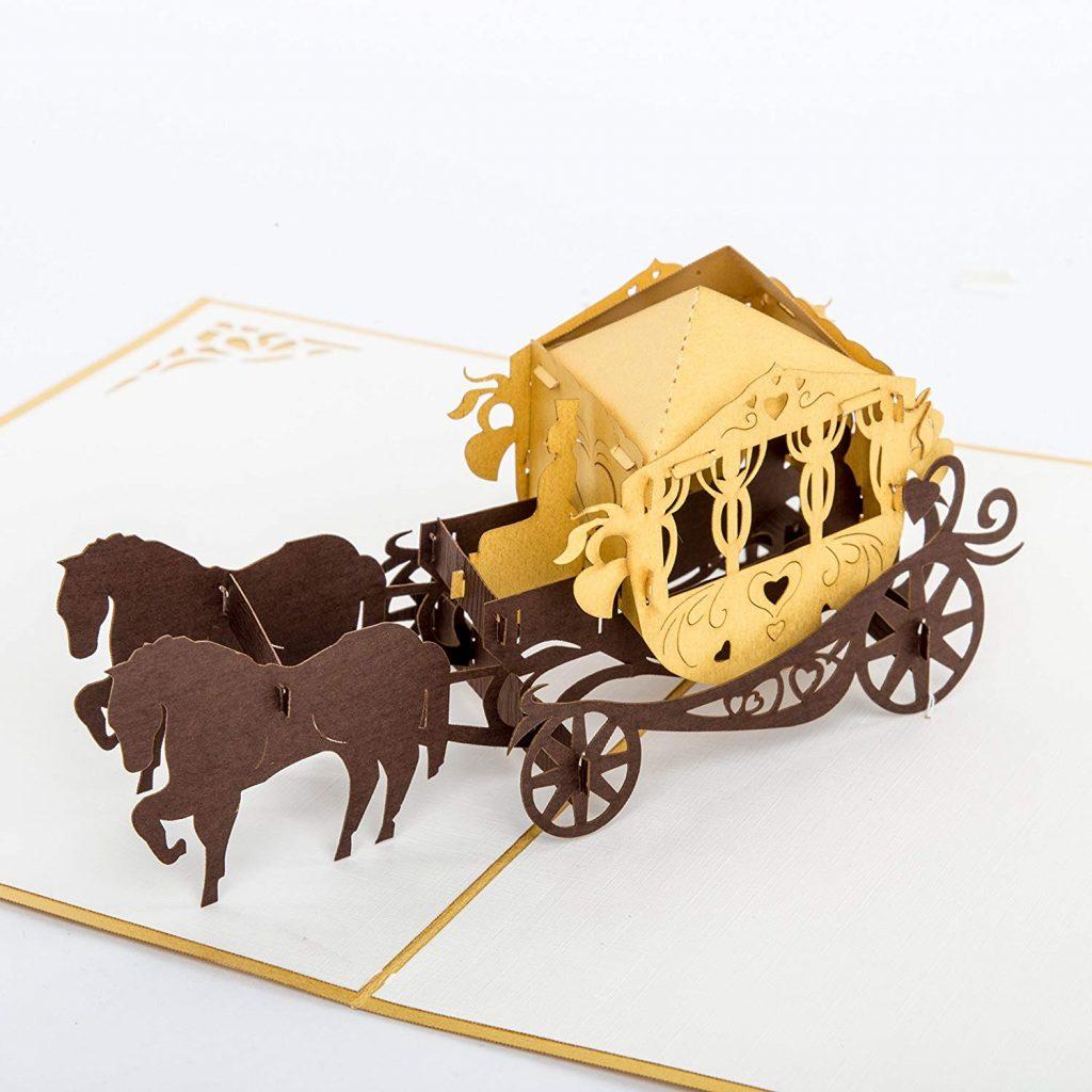 tarjeta carruaje de bodas de oro
